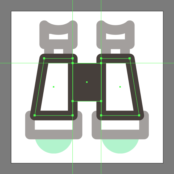 add the center hinge to the binoculars icon