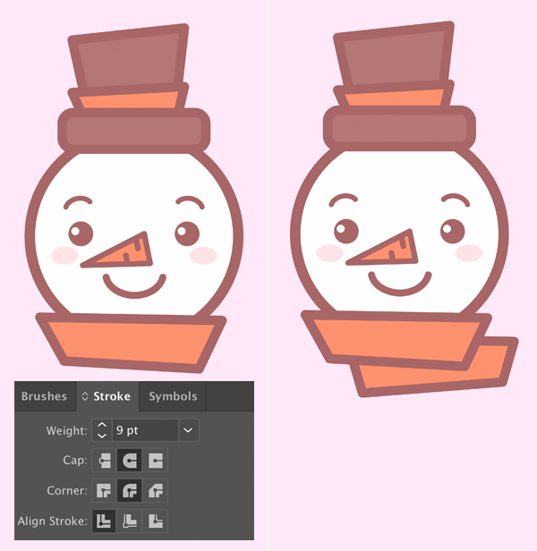add stroke to Cute snowman icon's scarf