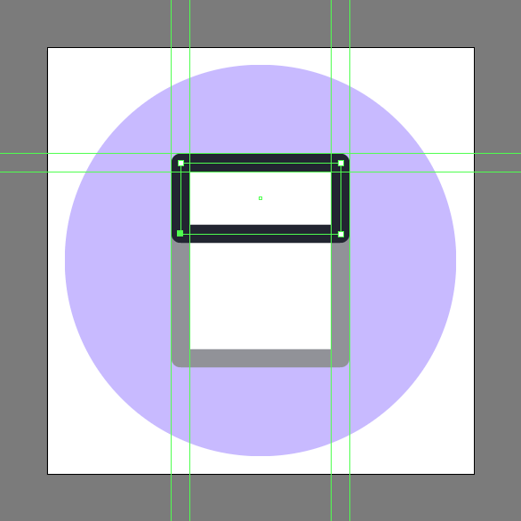 Create the envelope's folded section using a 36 x 16 px rectangle