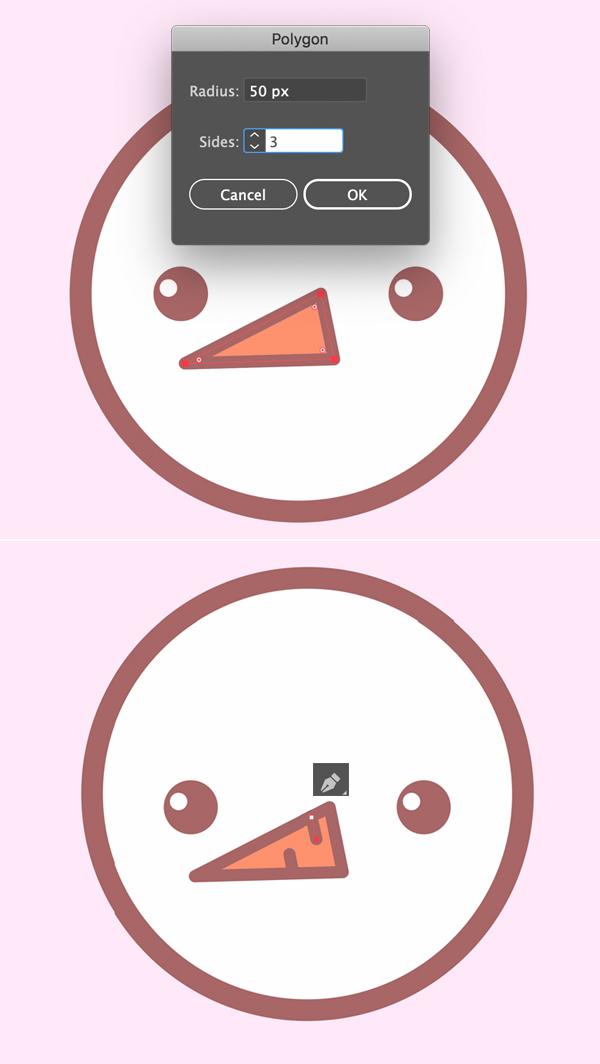 Create nose of cute snowman icon