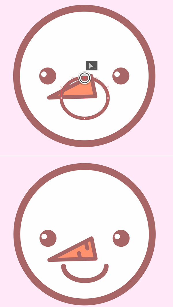 use ellipse to draw mouth for cute snowman icon