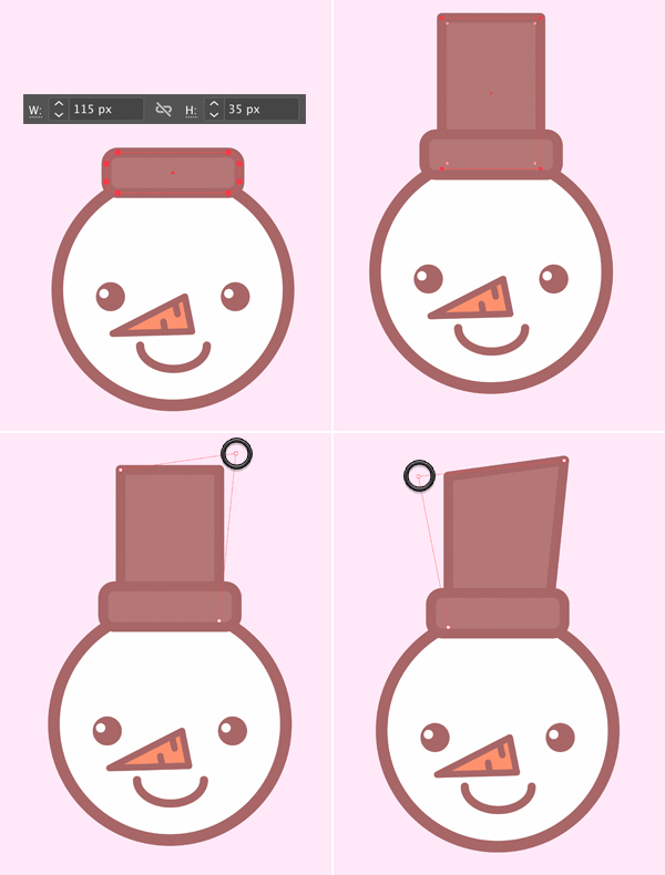 using rounded rectangle tool, create the Cute snowman icon's hat