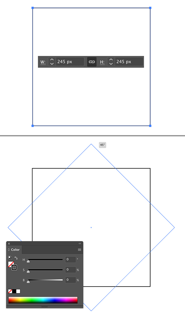 create and rotate rectangle