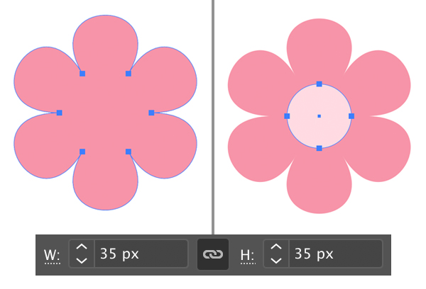 make center of flower using ellipse tool