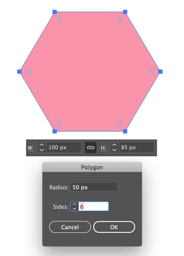 create hexagon for flower