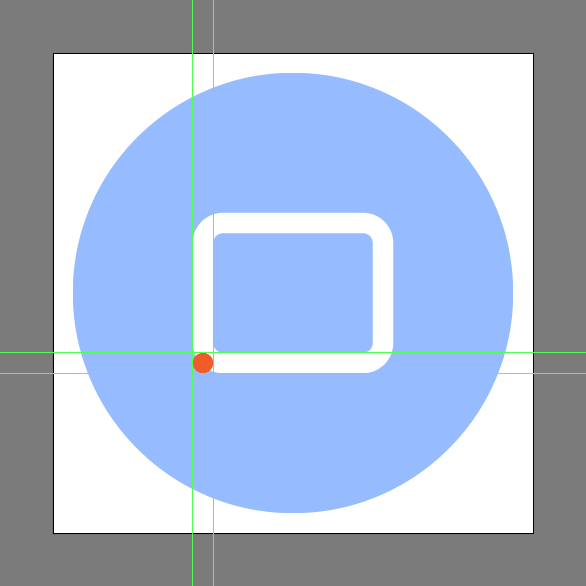 add a circle to the bottom left corner of the rounded rectangle