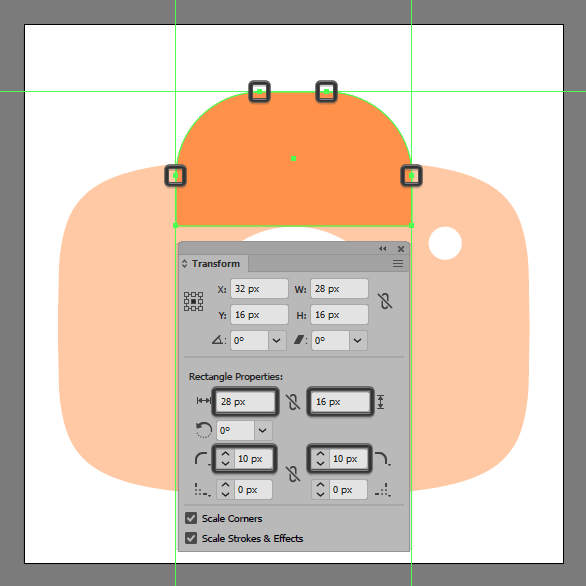 increase corner radius of rectangle