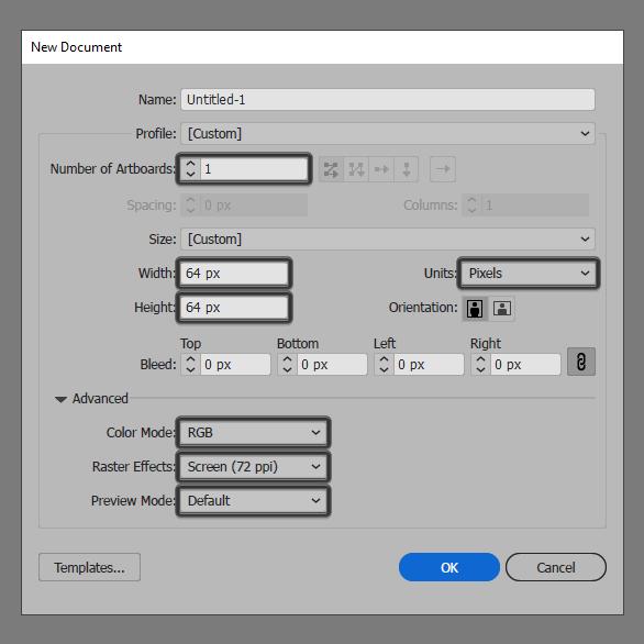 coding icon artboard setup