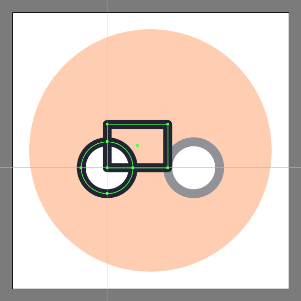 Create the main shape for the bicycle icon's frame