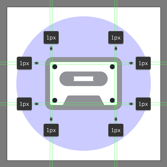 add ellipses to corners of the cassette tape icon
