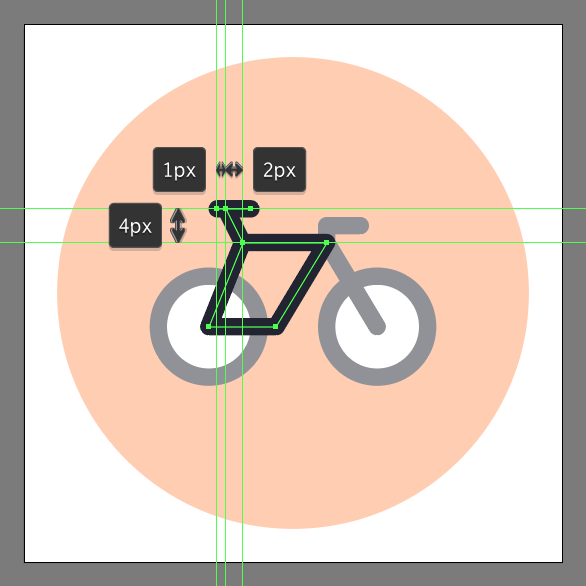 use pen tool to draw the bicycle icon's seat
