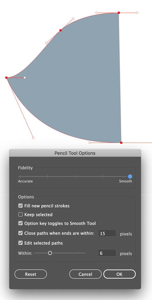 Create smooth curve with pencil tool