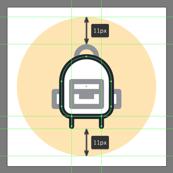create backpack icon's shoulder straps