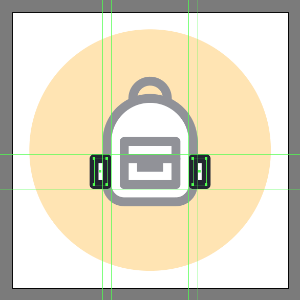 create backpack icon's side pockets