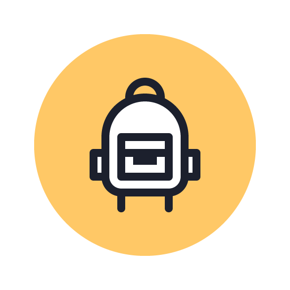 Backpack Icon with solid yellow background