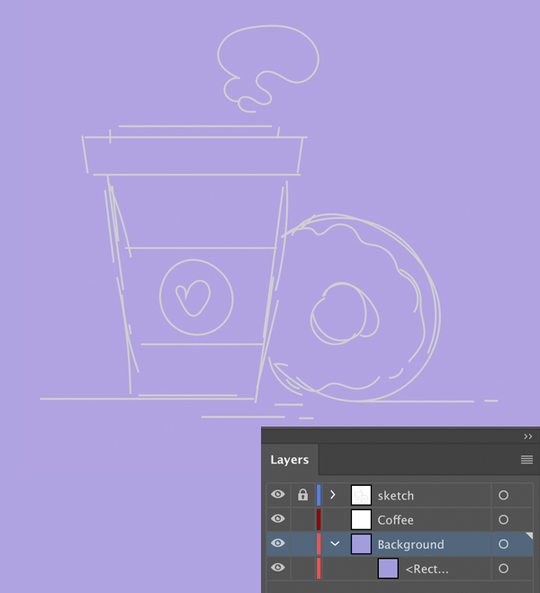 coffee and doughnut vector sketch