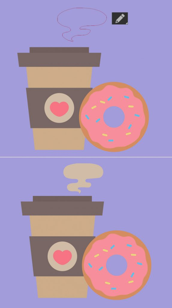 coffee and doughnut vector with  steam