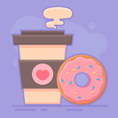 coffee and doughnut vector thumbnail