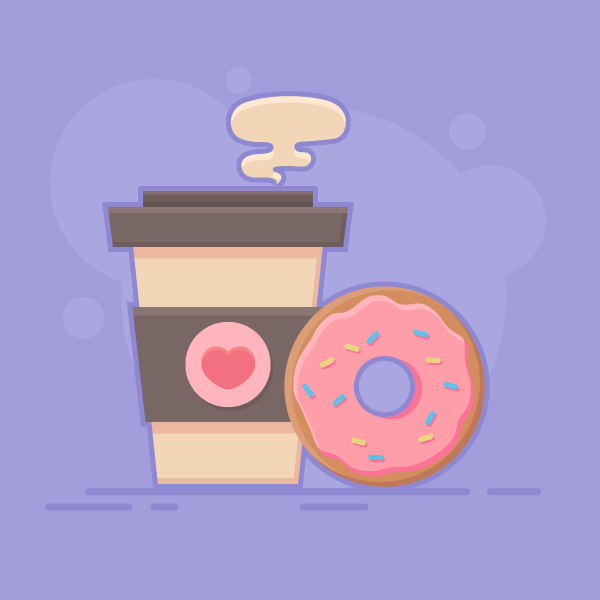 coffee and doughnut vector final image