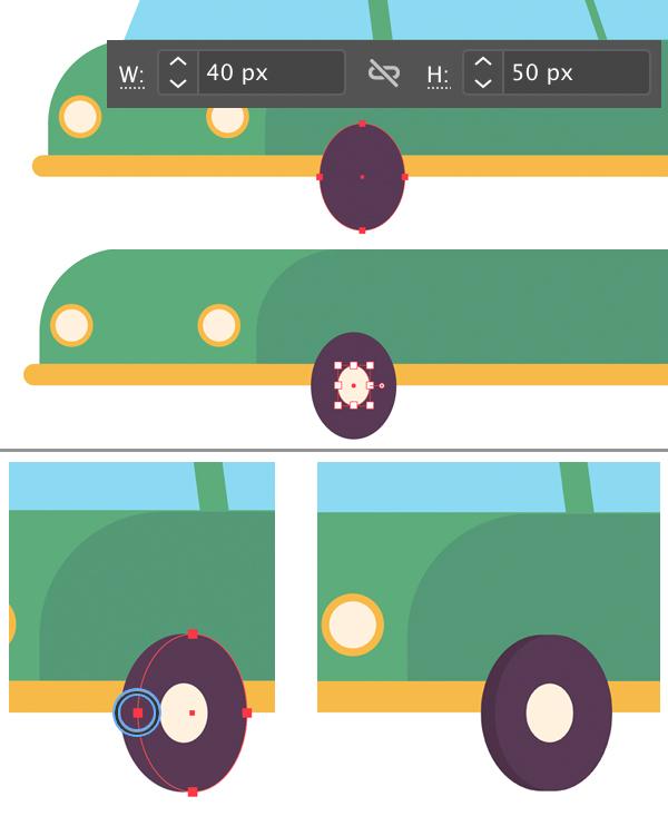 stylized flat car wheels