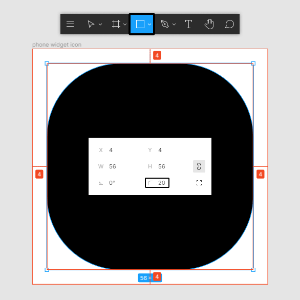 phone widget app icon shape